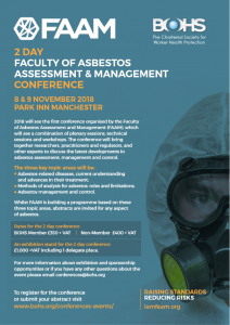 Faculty of Asbestos Assessment and Management (FAAM) Conference 2018