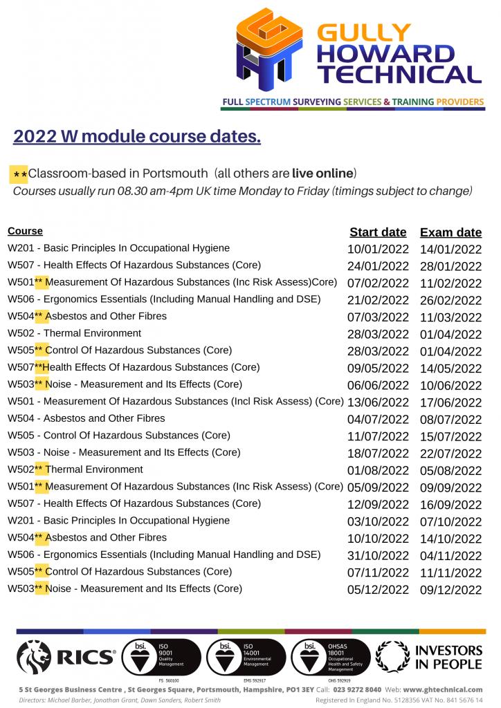 2022 Occupational Hygiene Training Calendar
